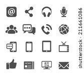 internet communication icon set ... | Shutterstock .eps vector #211661086