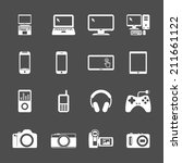 electronic devices icon set ... | Shutterstock .eps vector #211661122