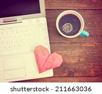 laptop or notebook with cup of ... | Shutterstock . vector #211663036