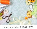 scrapbooking craft materials on ... | Shutterstock . vector #211671976