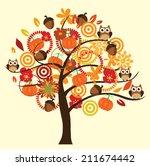 vector fall tree with acorns ...