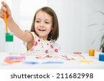 portrait of a cute cheerful... | Shutterstock . vector #211682998