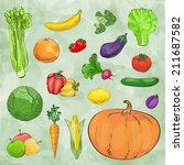 set of vegetables. vector... | Shutterstock .eps vector #211687582