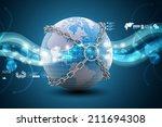 earth globe close in chain    | Shutterstock . vector #211694308