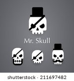 Skull logo pirate vector icon - stock vector