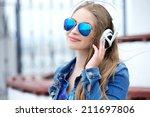 beautiful modern young woman...   Shutterstock . vector #211697806