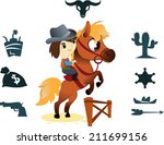 cowboy on small horse  image...   Shutterstock .eps vector #211699156