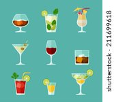 alcohol drinks and cocktails... | Shutterstock .eps vector #211699618