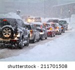 blizzard on the road. photo... | Shutterstock . vector #211701508
