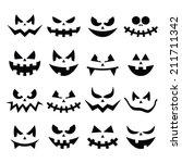 scary halloween pumpkin faces... | Shutterstock .eps vector #211711342