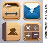 wood icon set vector...