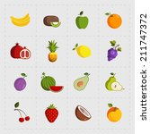 colorful fruit icon set on... | Shutterstock . vector #211747372