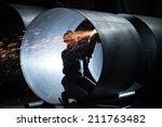 welding in the steel tube | Shutterstock . vector #211763482