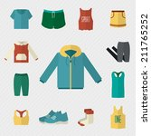 sport clothing icons set.... | Shutterstock .eps vector #211765252