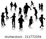 children silhouettes | Shutterstock .eps vector #211772356