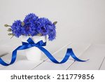 Blue Cornflowers In Vase With ...