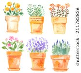 Set Flowers In Pot Watercolor...