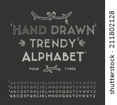 trendy hand drawing alphabet ... | Shutterstock .eps vector #211802128