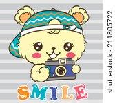 cute bear cartoon holding a... | Shutterstock .eps vector #211805722