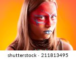 beautiful indian girl with make ... | Shutterstock . vector #211813495