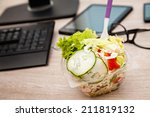healthy vegetable lunch box on... | Shutterstock . vector #211819132