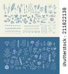 hand drawn vintage floral... | Shutterstock .eps vector #211822138