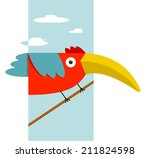 toucan bird with big beak... | Shutterstock .eps vector #211824598