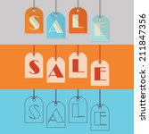 abstract sale hanging tags in... | Shutterstock .eps vector #211847356