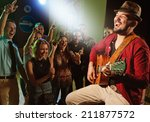 singer and guitarist performing ... | Shutterstock . vector #211877572