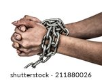 Hands Chained Isolated On Whit...