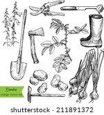 vintage garden set ... | Shutterstock .eps vector #211891372