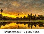 status silhouette of angkor wat ... | Shutterstock . vector #211894156