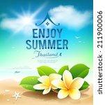 plumeria flowers  enjoy summer... | Shutterstock .eps vector #211900006