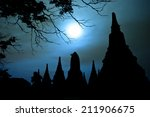 silhouettes pagoda during... | Shutterstock . vector #211906675