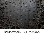 old metal background with rusty ... | Shutterstock . vector #211907566