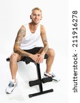 gym  workout on the bench .... | Shutterstock . vector #211916278