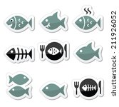 fish  fish on plate  skeleton... | Shutterstock .eps vector #211926052