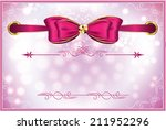 Elegant printable pink white celebrating background with ribbon, for different celebration occasion: birthday, invitation, weddings, party. Custom size for printable cards: A7. CMYK colors.