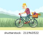 pensioner drive by bicycle... | Shutterstock .eps vector #211963522
