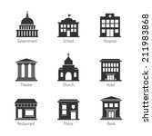 government building icons | Shutterstock .eps vector #211983868