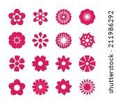 flower icon set  vector eps10. | Shutterstock .eps vector #211986292
