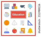 flat educational icons set....