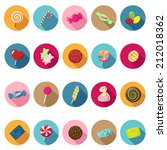 candy icons set in flat design... | Shutterstock .eps vector #212018362
