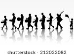 playing people silhouettes | Shutterstock .eps vector #212022082
