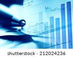 pen on a euro banknotes. macro... | Shutterstock . vector #212024236