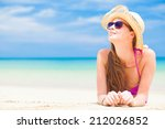long haired woman in bikini and ... | Shutterstock . vector #212026852
