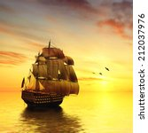 sailboat against a beautiful... | Shutterstock . vector #212037976