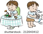 mealtime and wash hand   Shutterstock .eps vector #212043412