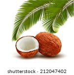 Coconut With Palm Leaves....