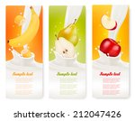three fruit and milk banners.... | Shutterstock .eps vector #212047426
